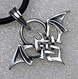 BAT Gothic Bat Vampire Totem Celtic knot Punk Metal Silver Pewter Pendant Charm Necklace