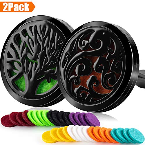 2PCS Car Aromatherapy Essential Oils Diffuser Air Freshener 30mm Stainless Steel Black Locket Vent Clip+32pcs Refill Pads (Tree of Life&Clouds(Black)