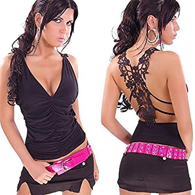 FarJing Fashion Sexy Womens U Neck Lace Trim Racerback Tank Tops Hollow Out Sport Vest at Women's Clothing store