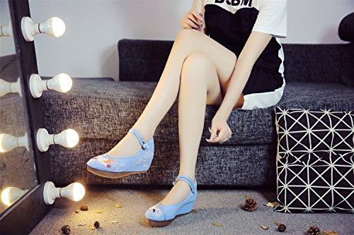 Fanwer Donna Casual Scarpe Qipao Con Ricamo Da Blue Appartamento Zeppa A qZnqHrT7wS