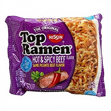 NISSIN TOP RAMEN HOT AND SPICY BEEF FLAVOR SAME PICANTE BEEF FLAVOR 3 oz Each ( 24 in a Pack )