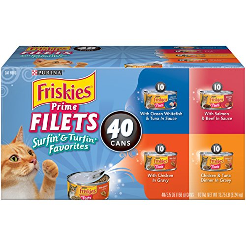 Purina Friskies Surfin' & Turfin' Favorites Wet Cat Food Variety Pack - Forty (40) 5.5 oz. Cans