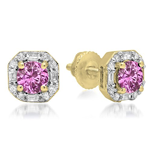 (Fingalo 10K Yellow Gold Round Pink Sapphire & Baguette & Round White Diamond Ladies Halo Style Stud Earrings)