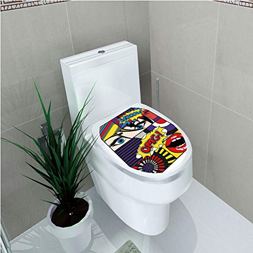 Toilet Custom Sticker,Art,Comic Book Inspired Style Wooow OMG Eyes Reading Panels Lines Excitement Action Print,Multicolor,Diversified Design,W12.6