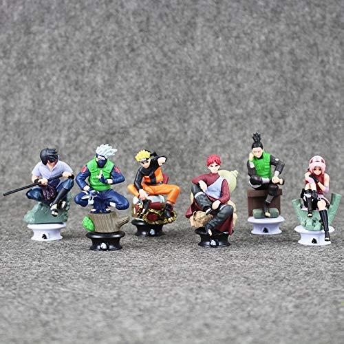 (Fallhuoz Anime Naruto Chess Sasuke Gaara Shikamaru Kakashi Sakura Naruto Action Figure Model Toys 8cm 6pcs/lot)
