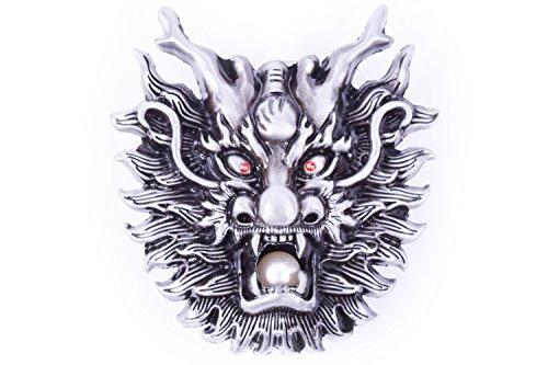 Dragon And Dragon Ball Design Cowboy Belt buckle (Silver)
