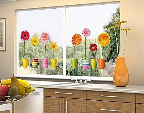 40cm x 18cm Klebefieber Fenstersticker Gerberat/öpfe B x H