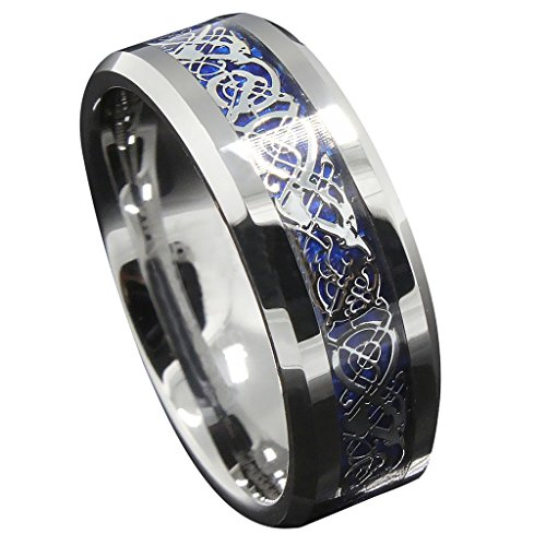 8mm Blue Silver Tungsten Celtic Wedding Band Eternity Promise Rings for Couples Size 13