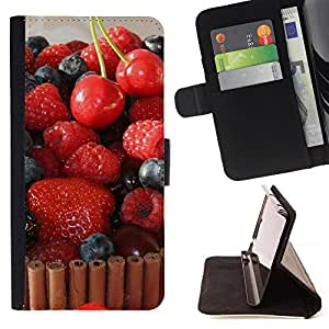 DEVIL CASE - FOR Sony Xperia Z2 D6502 - Fruit Macro Raspberry Cherry Cake - Style PU Leather Case Wallet Flip Stand Flap Closure Cover