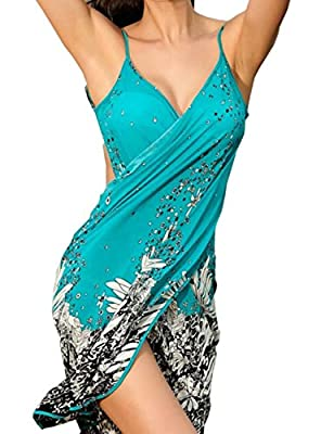 Sexyshine Women's Sexy Spaghetti Strap Backless Floral Printed Beach Dress Bikini Cover up