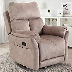 Living Room CANMOV Swivel Rocker Recliner Chair, Manual Reclining Chair, Single Seat Reclining Chair, Camel
