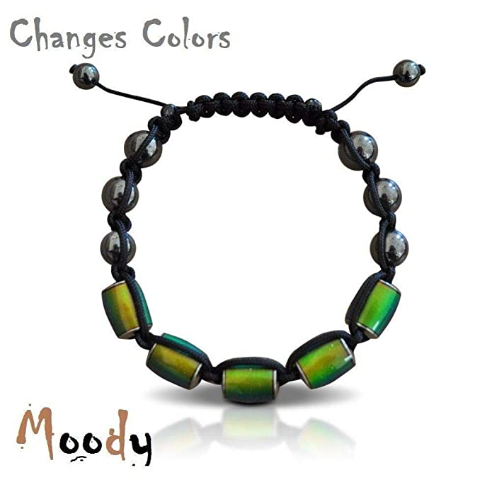 3d017f13c55b3 Moody Bracelet Changes Colors with Your Mood Adjustable Beaded Fashion  Jewelry, Black
