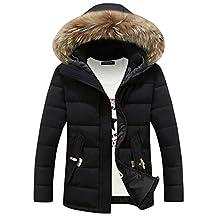Men's Hooded Parka Warm Faux Fur Collar Winter Thick Down Coat Outwear Jacket