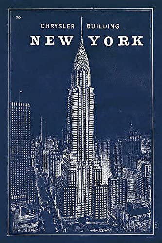 Blueprint Map New York Chrysler Building Sue Schlabach City Print Poster 24x36