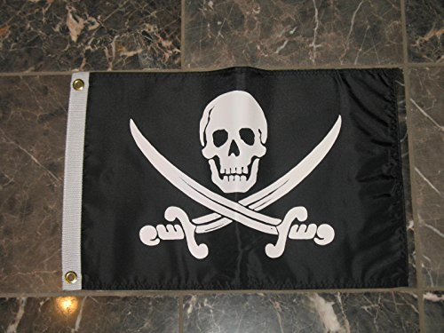 Jack Flag Calico Rackham - 12x18 Pirate Calico Jack Rackham Jolly Roger Double Sided Nylon Flag 12