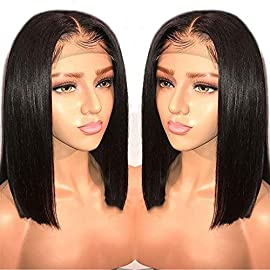 LIAZAHAIR 13×4 Short Bob Lace Front Wigs Human Hair Pre Plucked Full End 150% Density Brazilian Straight Bob Wigs With…