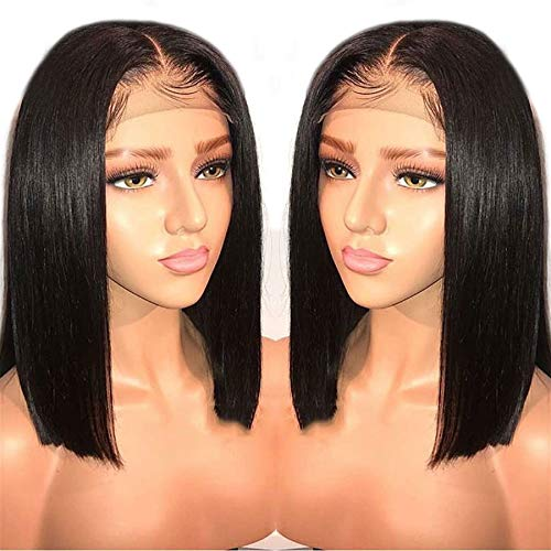 LIAZAHAIR 13x6 Deep Part Short Bob Lace Front Wigs Human Hair Pre Plucked Full End 150% Density Brazilian Straight Bob Wigs With Baby Hair For Women (10 inches, Natural color)
