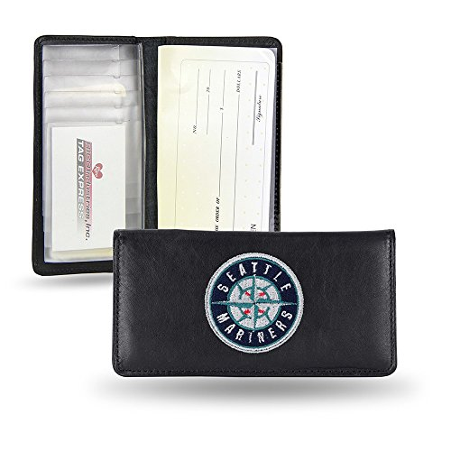 Rico Industries MLB Seattle Mariners Embroidered Genuine Cowhide Leather Checkbook Cover