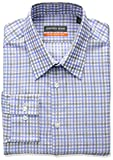 "Geoffrey Beene Men's Fitted Tattersall Point Collar Dress Shirt, Water Mill, 17.5"" Neck 34""-35"" Sleeve"