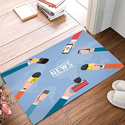 SIGOUYI Entrance Door Mat Low Profile Rubber Non-Slip Welcome Front Floor Rug, Shoe Scraper Runner Doormats for Entry Way/Indoor/Kitchen - 32 x 20 Inch News Microphone World Map]()