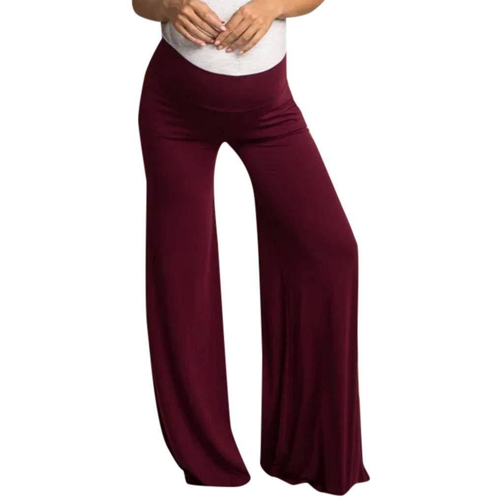 Leggings f/ür Schwangere Lange Hose Elegante Umstands-Leggings Damen Umstandsleggings Komfortable Weite Hose Schwangerschafts Umstandsmode Sport Freizeithose Gerade Lounge Pants