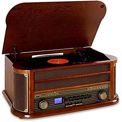 AUNA Belle Epoque 1908 Retro stereo system  Record player  Vinyl turntable  Belt drive  Bluetooth  Stereo speakers  Radio tuner  USB slot  Cassette deck  Digitizing function  Brown