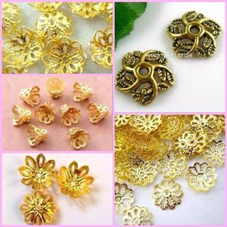 Kalanjium Handicrafts Fancy Flower Bead Caps For Silk Thread