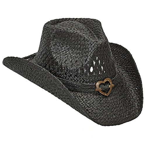 - Port Classic Shapeable Straw Country Cowboy Hat, Heart (Black)