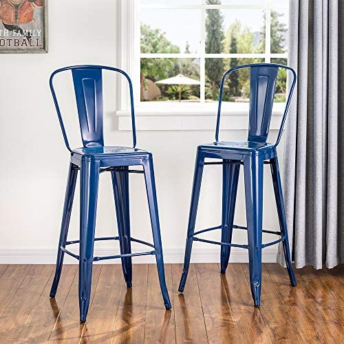 Glitzhome Vintage Metal Bar Stool High Chairs Indoor Outdoor Barstool Dining Chair