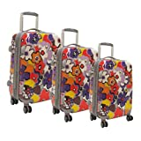 Olympia Luggage Blossom Hardside 3 Piece Luggage Set,Lavender,One Size, Bags Central