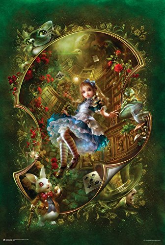 Alice Floating In Curved Space Poster 24 x 36in (Caterpillar In Alice In Wonderland)