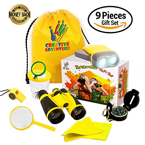 Outdoor Exploration Kit For Kids   Kids Binocular Set For Boys And Girls  Bug Collector  Flashlight  Compass  Magnifying Glass  Whistle And Backpack  Educational Gift Set For Children Hiking   Camping