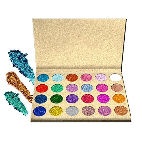 Palette Metallic (SUNTRIC 24 Color Highly Pigmented Diamond Glitter Rainbow Eye Shadow Palette Flash Shimmer Eyeshadow Make Up Palette)