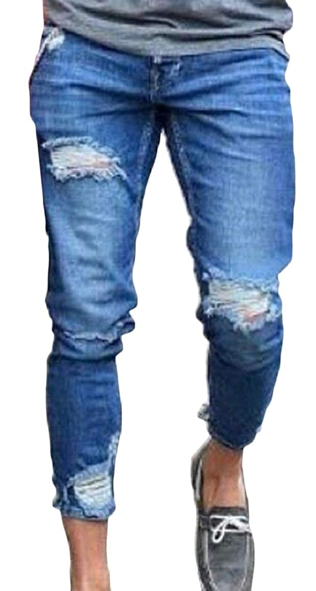 HTOOHTOOH Mens Casual Washed Stretch Comfy Ripped Hole Biker Jeans Denim Pants