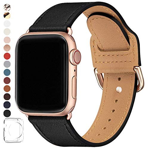 POWER PRIMACY Bands Compatible with Apple Watch Band 38mm 40mm 42mm 44mm, Top Grain Leather Smart Watch Band Compatible for Men Women iWatch Series 6/5/4/3/2/1,SE