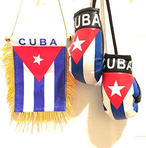 Cuban style 2pc automobile care care pack Cuba Flag & mini Cuban style Boxing Gloves Cuban Cars