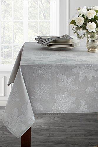 Poinsettia Legacy Damask Christmas Tablecloth (Silver, 60