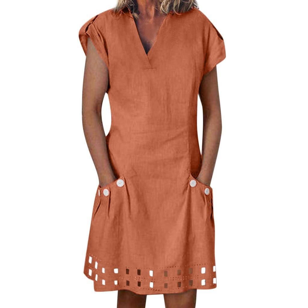 KUDICO Damen Kleid Kurzarm V-Ausschnitt Lässig Locker Gekräuselt T-Shirt Kleid Knielang Button-Dekor Sommerkleider mit Taschen