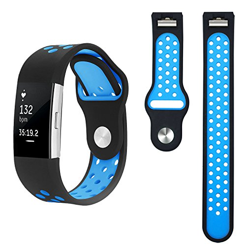 Band for Fitbit Charge 2 - Akaru Silicone Sport Soft Breathable Adjustable Fashion Replacement Strap Bands for Fitbit Charge 2 Smartwatch Heart Rate Fitness Wristband with hole 5.6-8.1 Inch