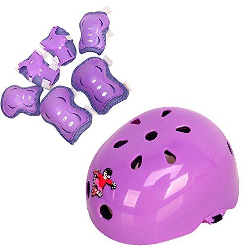 1Set(7PCS) Roller Skating Safeguard Knee Pads Elbow Pads Wrister Bracers Safety Helmet Sports Support Pads Protective Gear Pads for Kids / Children Roller Skate Skateboard Bicycle BMX Bike(Purple) ()