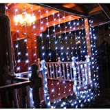 A2Z LED PVC Waterfall Curtain Lights(3x3m, White)