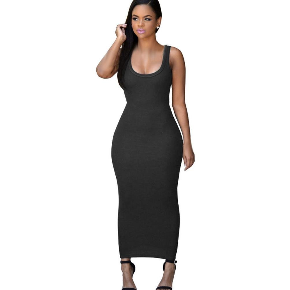 Usstore Women Dress Bandage Bodycon Party Cocktail Maxi Long Dresses (Asia S, Black)