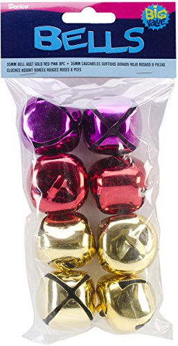 Jingle Bells 35mm 8/Pkg-Gold/Red/Pink 1 pcs sku# 1856571MA