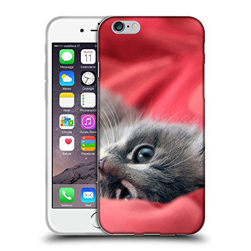 Just Phone Cases Coque de Protection TPU Silicone Case pour // V00004251 chaton gris sur lplaying rouge // Apple iPhone 6 6S 6G PLUS 5.5""