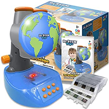 Dr. STEM Toys Speaking Microscope, STEM Science Toy, Newbie Microscope for Youngsters with Twenty Ready Slides, Sixty Specimen Photos, and Shade Booklet – View, Pay attention, and Be taught, Ages 3+