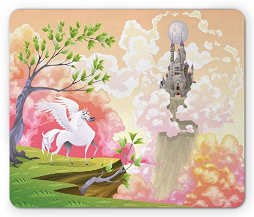 Pegasus Castle (Fantasy Mouse Pad by Lunarable, Fairytale Pegasus Castle Clouds Myth Kids Princess Story Cartoon, Standard Size Rectangle Non-Slip Rubber Mousepad, Peach Dark Coral Fern Green)