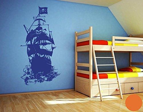 Pared de tatuajes 3928 - Adhesivo de pared barco pirata, plástico ...
