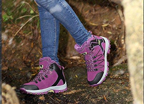 al antideslizante libre transpirable Mountaineer Bicicleta Espesamiento High Top de Zapatos aire Zapatos mujer Running Huaihsu Senderismo Púrpura OqURP4Ky