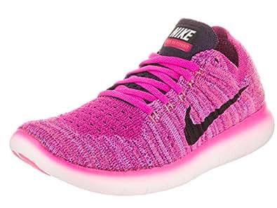 Nike Women's Free RN Flyknit Fire Pink/Black/Peach Cream 6