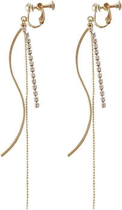 """#c043 New Twist Clear Crystal Dangle Clip On Screw Back Non-pierced 2/"""" Earrings"""